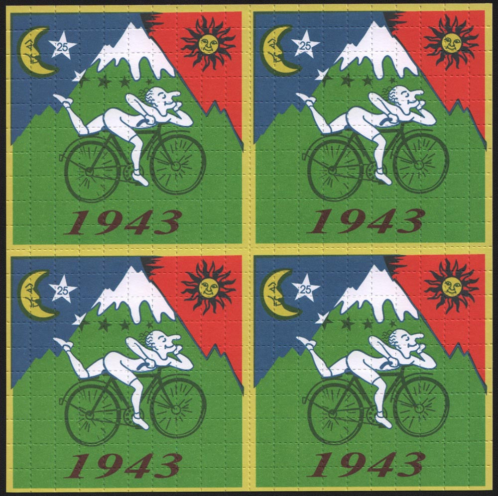 "Albert Hofmann Green Bike Ride 1943 - 4 Panel with large 3/8"" squares"