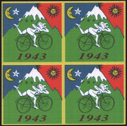 "Albert Hofmann Green Bike Ride 1943 - 4 Panel with large 3/8"" squares (SALE)"