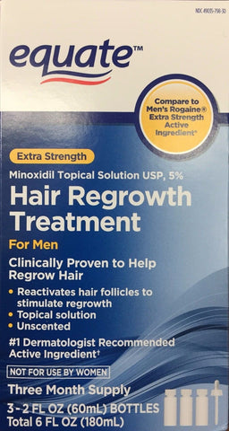 Equate Men's Hair Regrowth Topische Lösung 5% Minoxidil. 3x2oz (60ml)