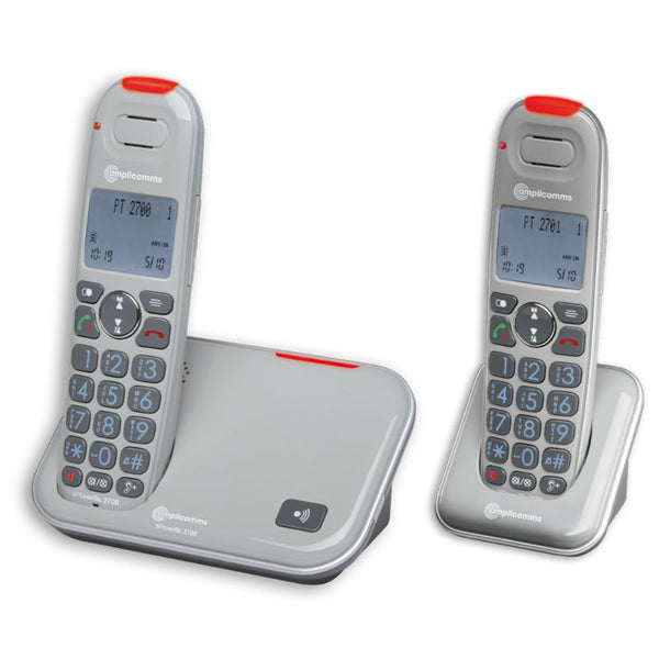 Amplicomms PowerTel 2702 Cordless Amplified DECT Telephone with Extra Handset