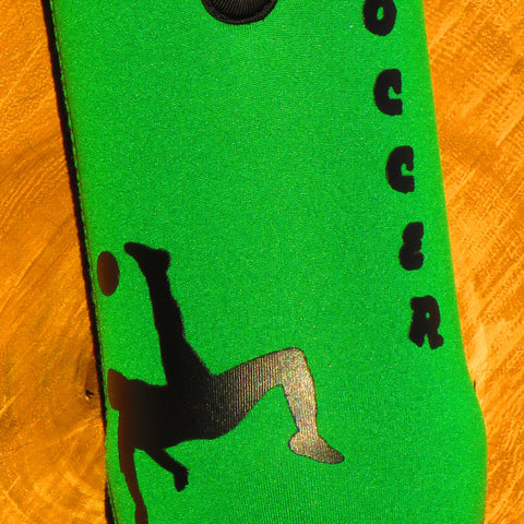1L Neoprene water bottle sleeve 'I love Soccer'