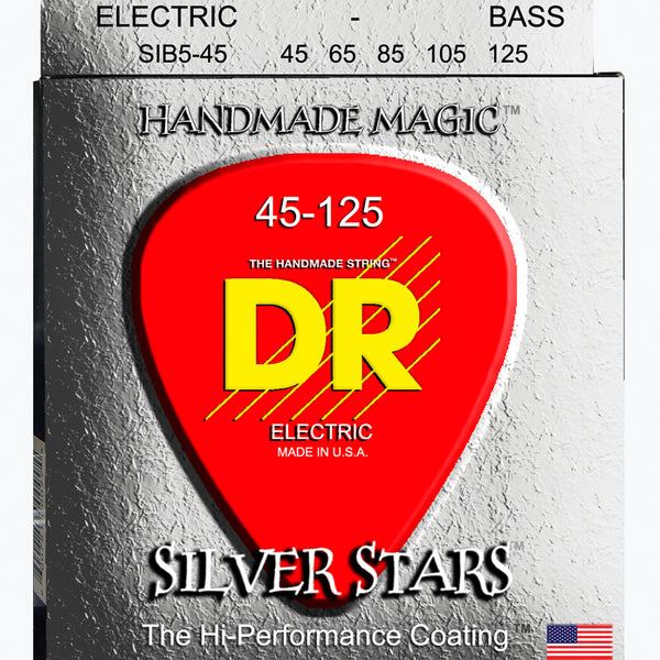 DR Silver Stars Coated 5-String Bass Strings 45-125