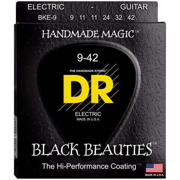DR Black Beauties Black Coated Electric Guitar Strings - 9-42