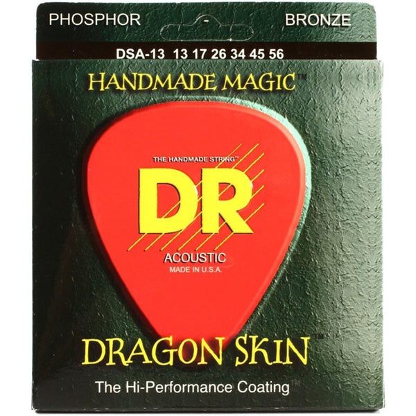 DR Dragon Skin Clear Coated Acoustic Strings - Medium - 13-56
