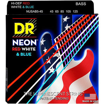 DR Hi-Def Neon Red, White, and Blue Bass Strings 45-125