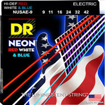 DR Hi-Def Neon Red, White, and Blue Guitar Strings 9-42