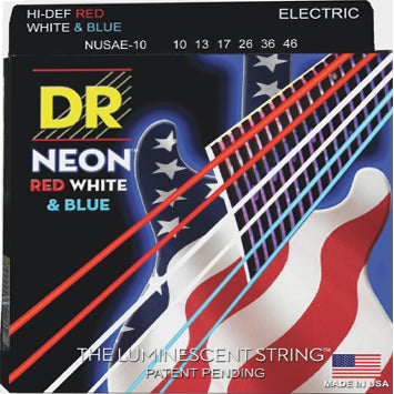 DR Hi-Def Neon Red, White, and Blue Guitar Strings 10-46