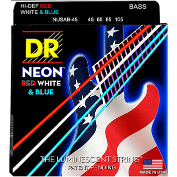 DR Hi-Def Neon Red, White, and Blue Bass Strings 45-105