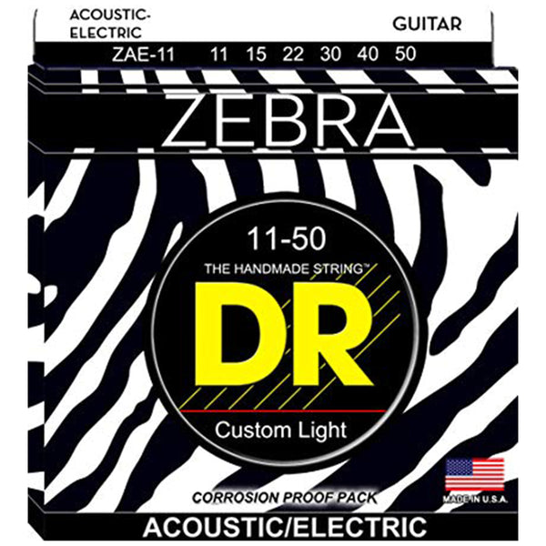DR Zebra Acoustic Electric Strings - Custom Light - 11-50