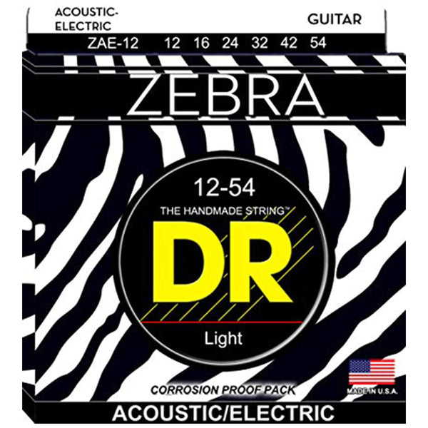 DR Zebra Acoustic Electric Strings - Light - 12-54