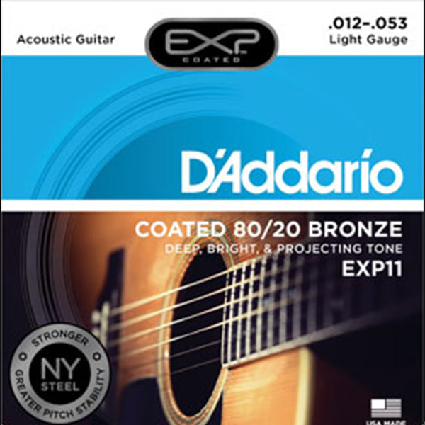 D'Addario EXP11 Coated 80/20 Bronze Acoustic Stings - Light Gauge 12-53
