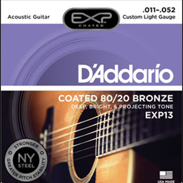***D'Addario EXP13 Coated 80/20 Bronze Acoustic Stings - Custom Light Gauge - 11-52