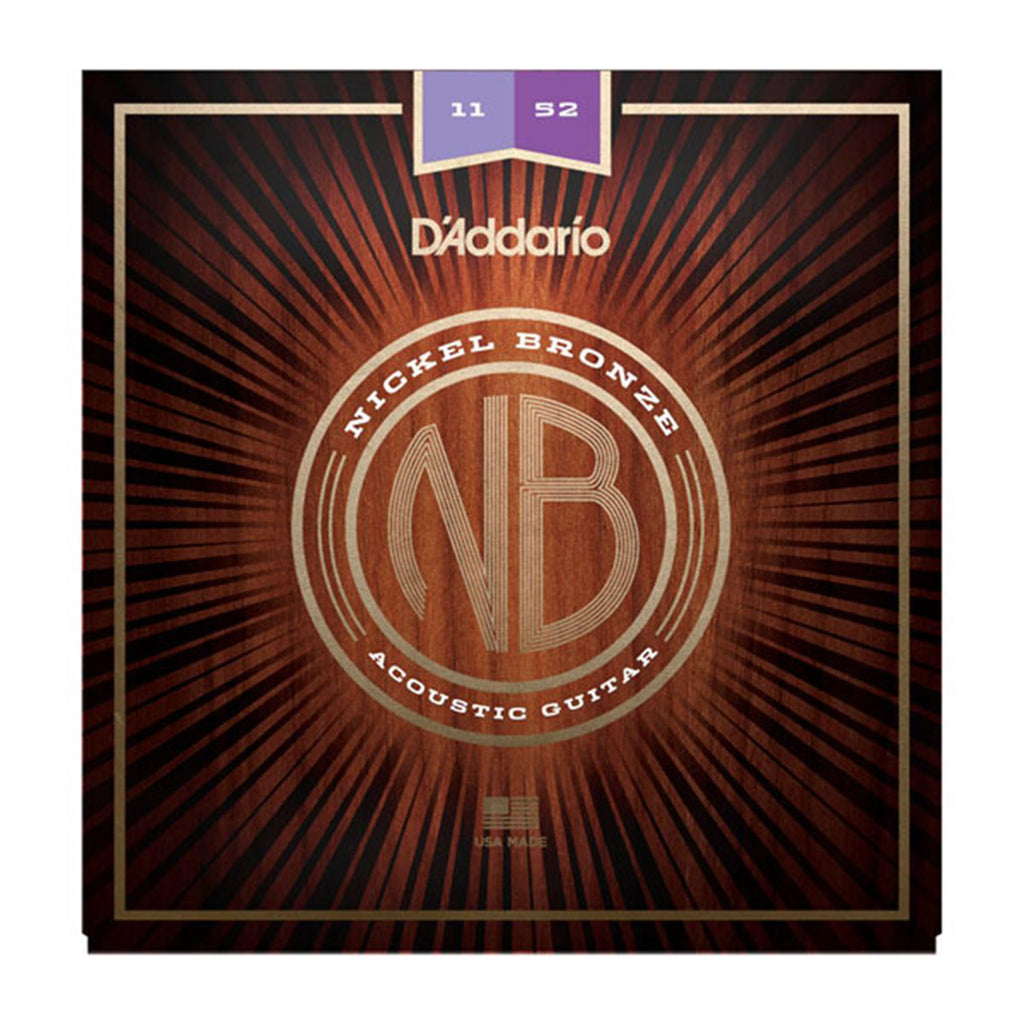 D'Addario NB1152 - Nickel Bronze Acoustic Guitar Strings - Custom Light - 11-52