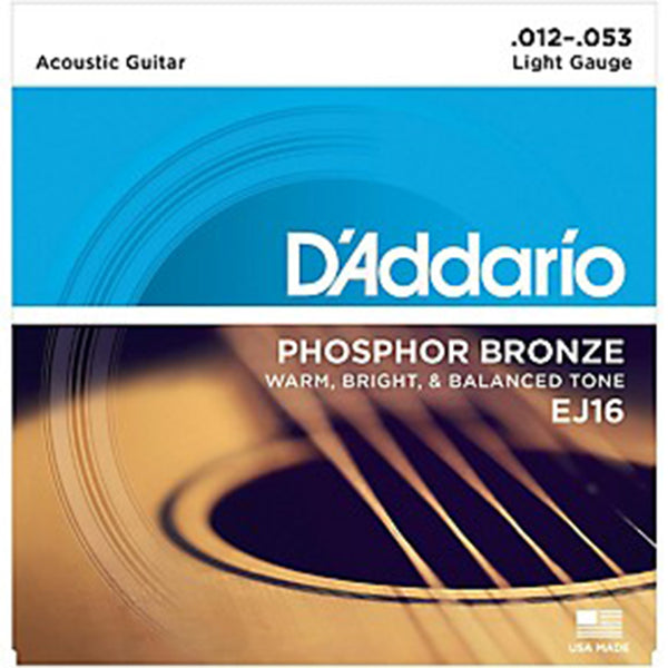 D'Addario EJ16  Phosphor Bronze Acoustic Strings - Light Gauge 12-53