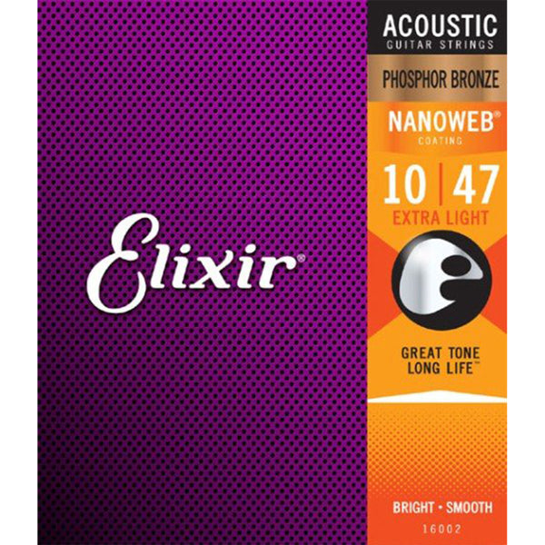 Elixir Strings - Acoustic Phosphor Bronze with Nanoweb Coating - Extra Light