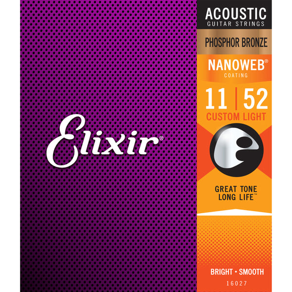 Elixir Strings - Acoustic Phosphor Bronze with Nanoweb Coating - Custom Light