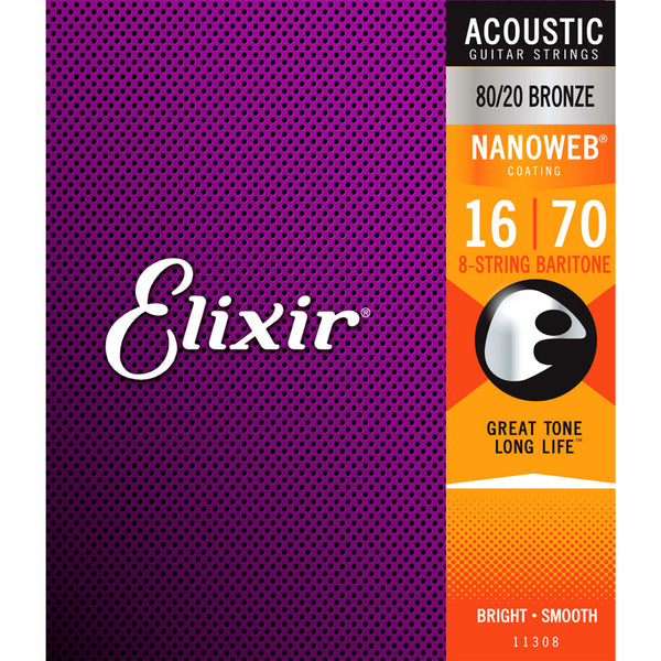 Elixir Strings - Acoustic 80/20 Bronze with Nanoweb Coating - 8 String Baritone