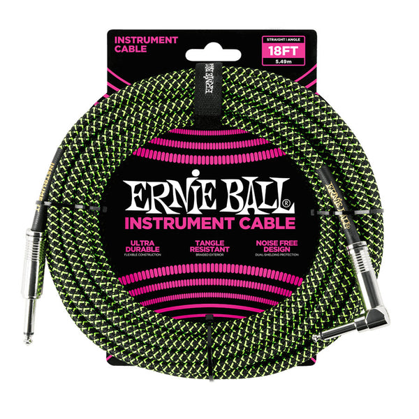 Ernie Ball 18ft. Braided Instrument Cable - Black / Green