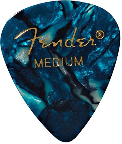Fender Premium Celluloid Guitar Picks (12 Pack) - Medium, Ocean Turquoise