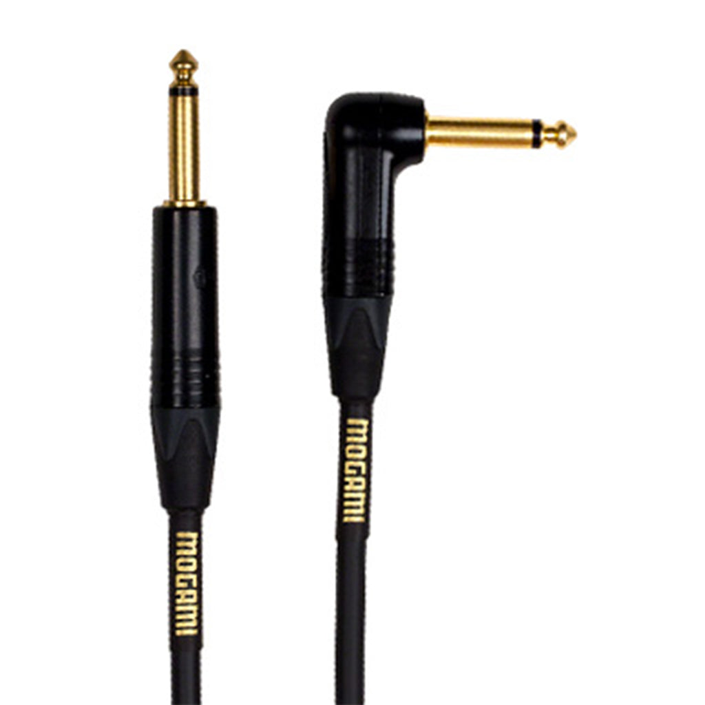 Mogami Gold Instrument Cable -  Right Angle to Straight End - 10'