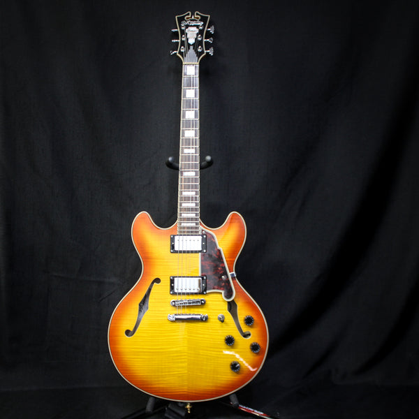 Used D'angelico Premier DC Semi-Hollow Electric Guitar w/ Bag - Flame Maple / Sunburst 060519