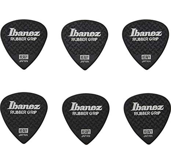 Ibanez Grip Wizard Series Rubber Grip Guitar Picks - 6 pk - Black