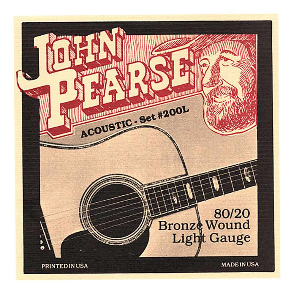 John Pearse 200L Acoustic Strings - 80/20 Bronze / Light Gauge