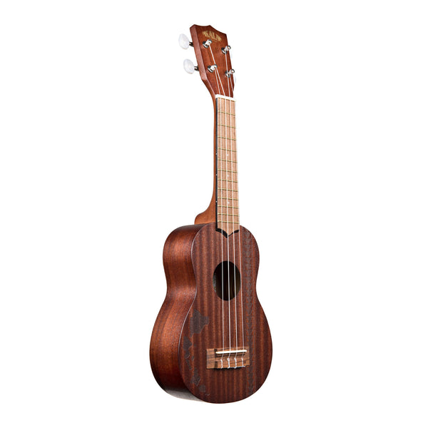 Kala Satin Mahogany Soprano Ukulele - Hawaiian Islands with Tattoo