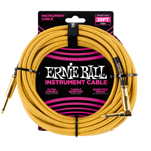 Ernie Ball 25ft. Braided Instrument Cable - Gold