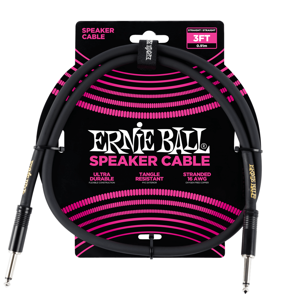 Ernie Ball 3ft. Speaker Cable - Black
