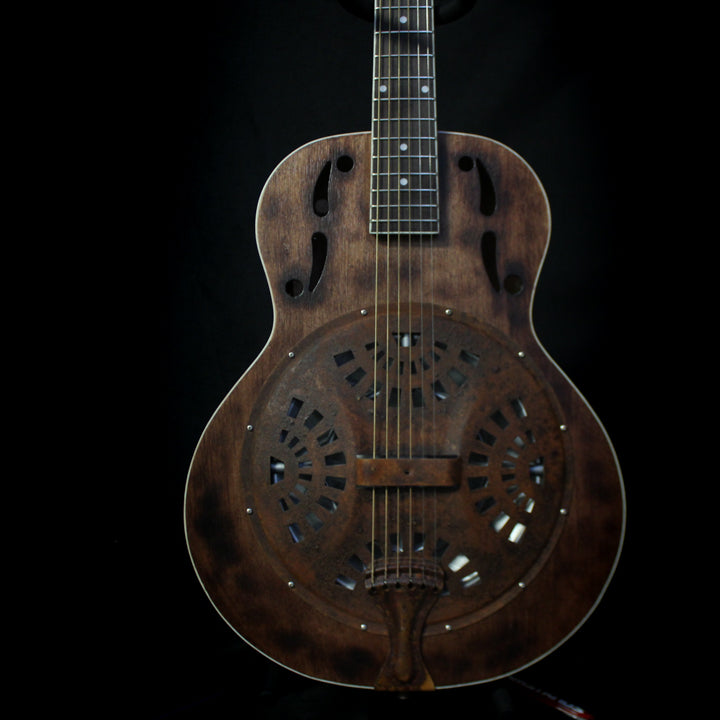 Ratfiddle Custom Built Burned and Rusted Resonator Acoustic Electric Guitar