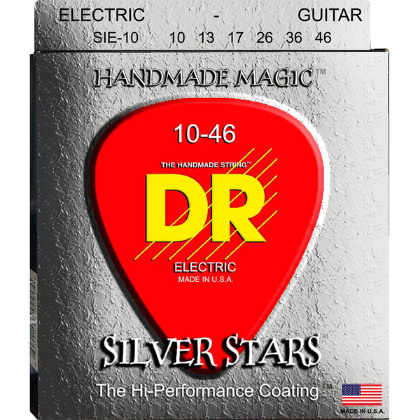 DR Silver Stars Coated Electric Guitar Strings 10-46