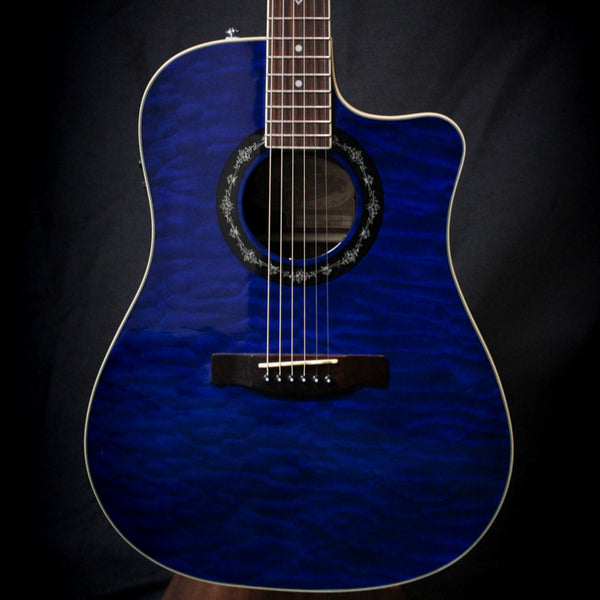 Used Fender T-Bucket 300ce Quilt Top Acoustic Electric Guitar w/ Case - Trans Blue 011620
