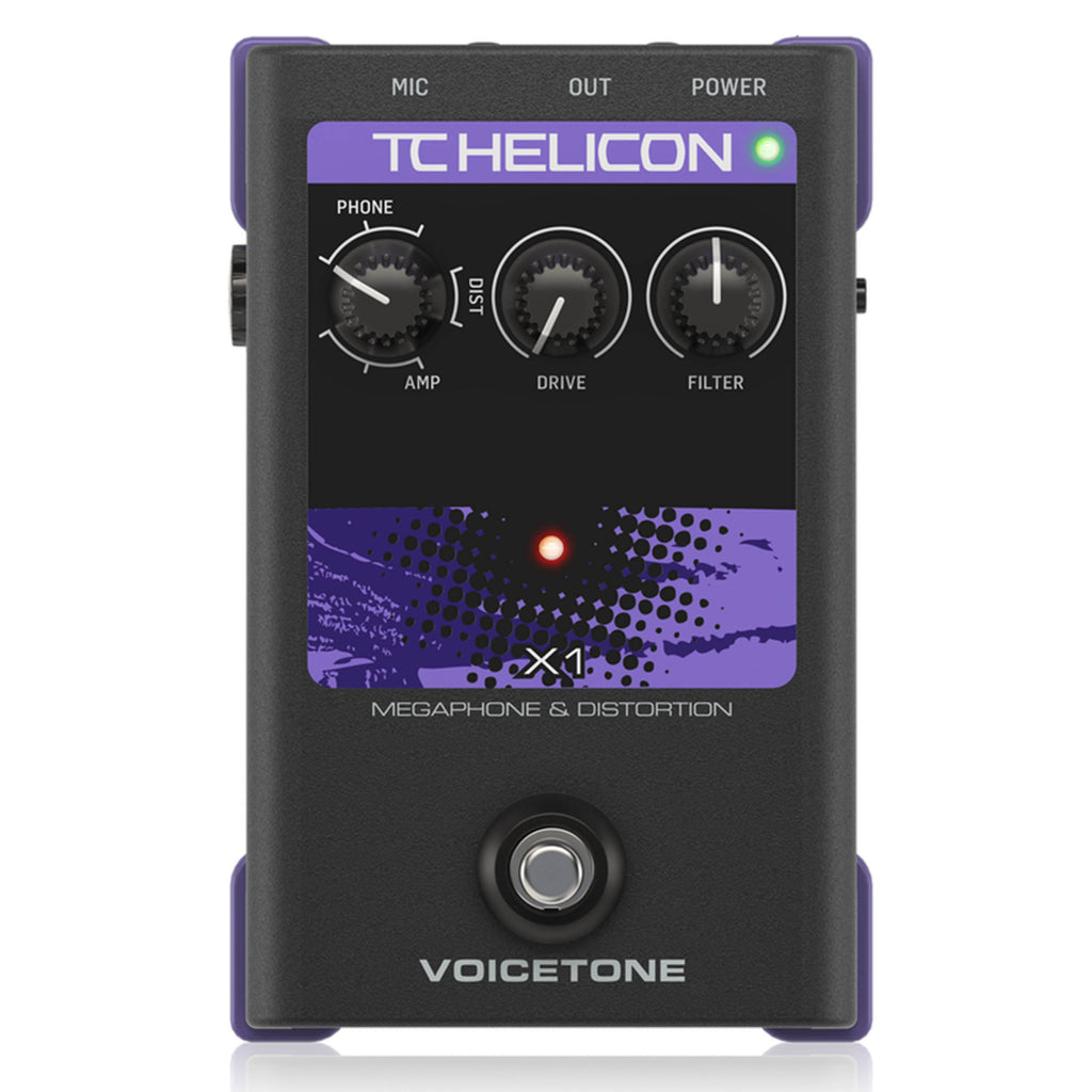 TC Helicon VoiceTone X1 Vocal Effects Megaphone Simulator / Distortion Pedal