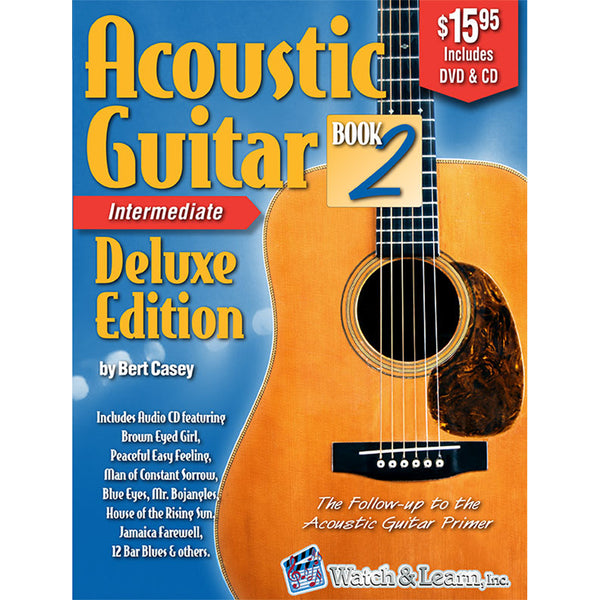 Watch & Learn Acoustic Guitar Book 2 Deluxe Edition Instruction Method with DVD and CD