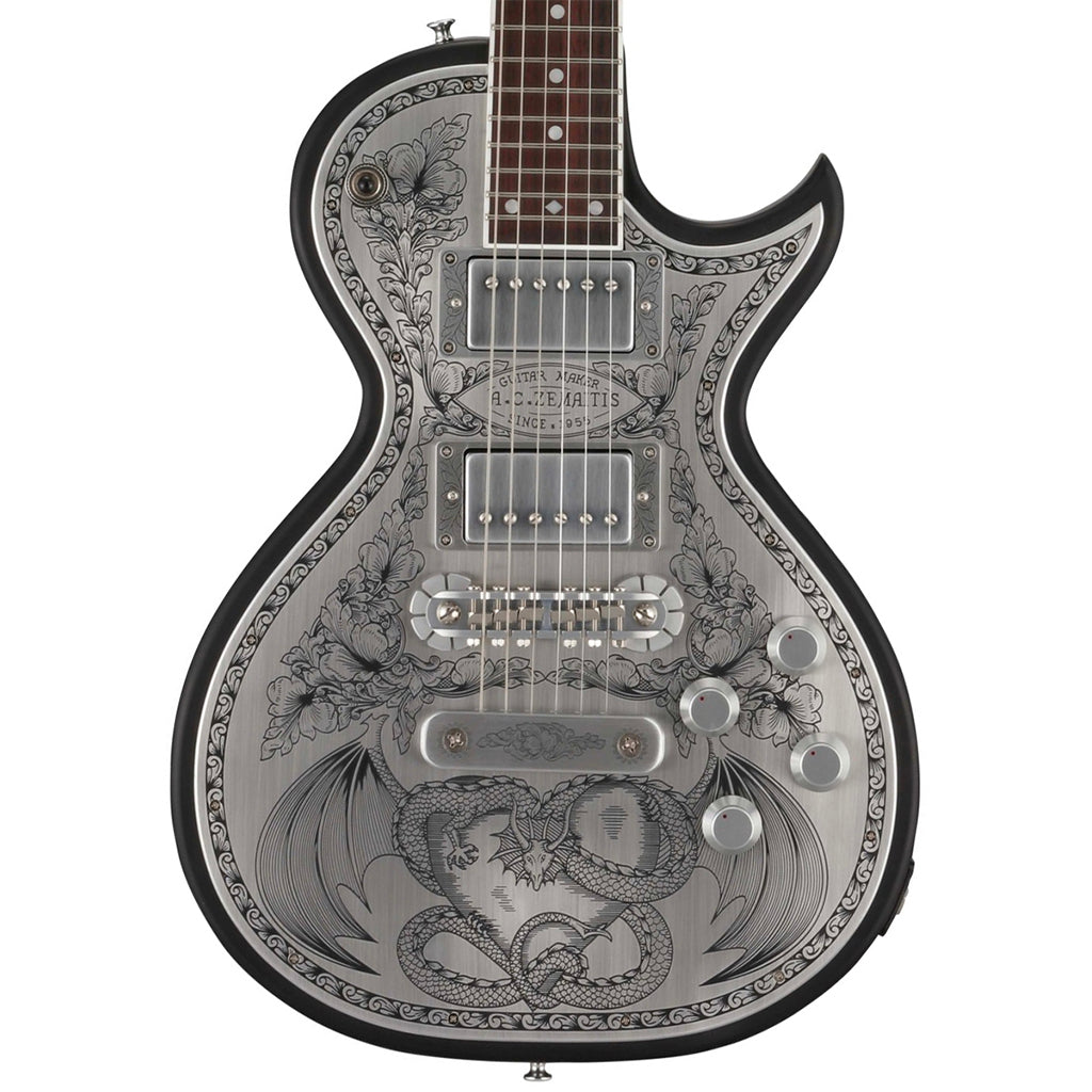 Zemaitis Antanus Series Metal Front Dragon & Heart Design w/ Case - Black - A24MF