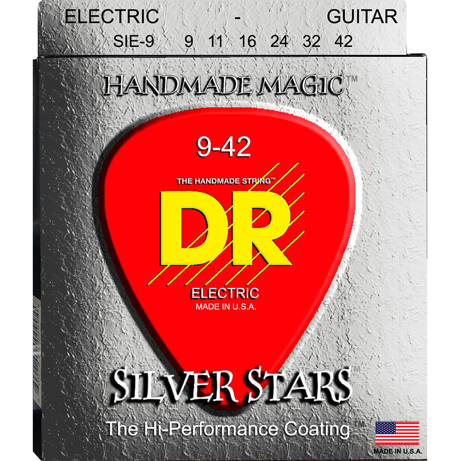 DR Silver Stars Coated Electric Guitar Strings 9-42