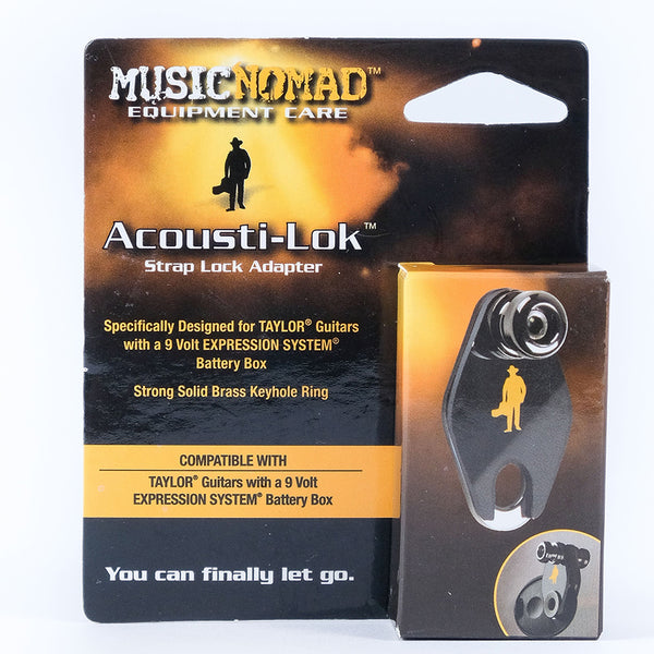 Music Nomad Acousti-Lok Strap Lock Adapter Taylor Guitars w/ 9v ES Battery Box