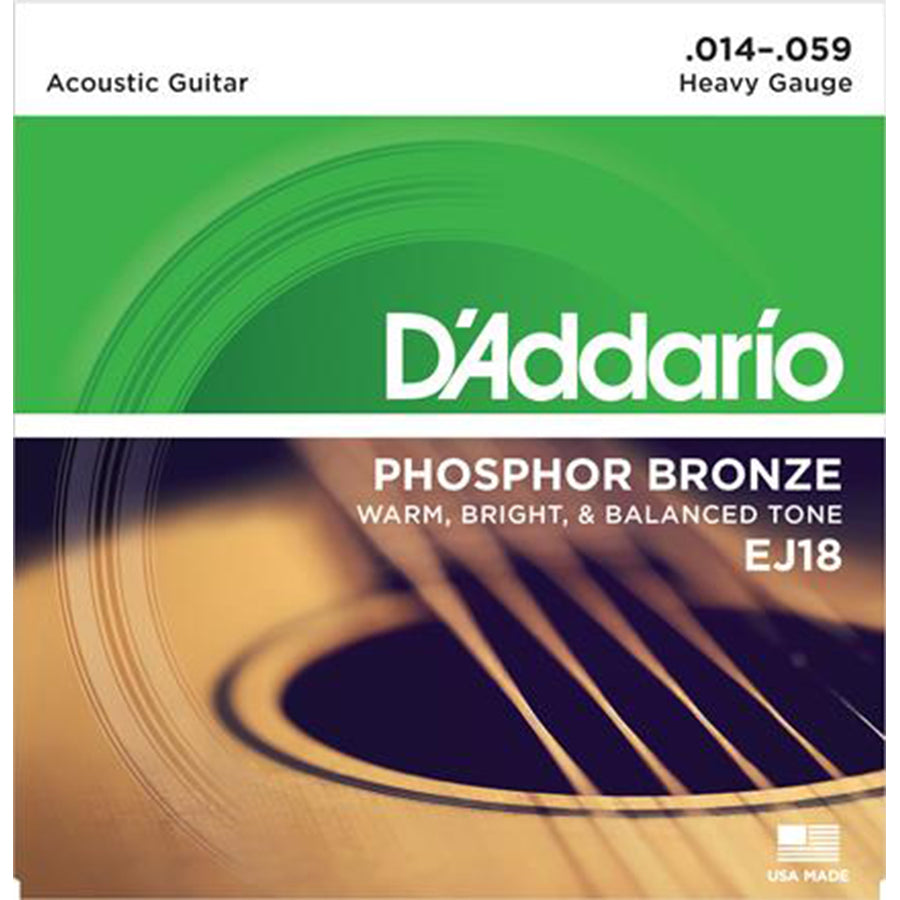 D'Addario EJ18  Phosphor Bronze Acoustic Strings - Heavy Gauge 14-59