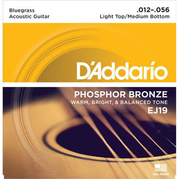 D'Addario EJ19  Phosphor Bronze Acoustic Strings -Bluegrass 12-56