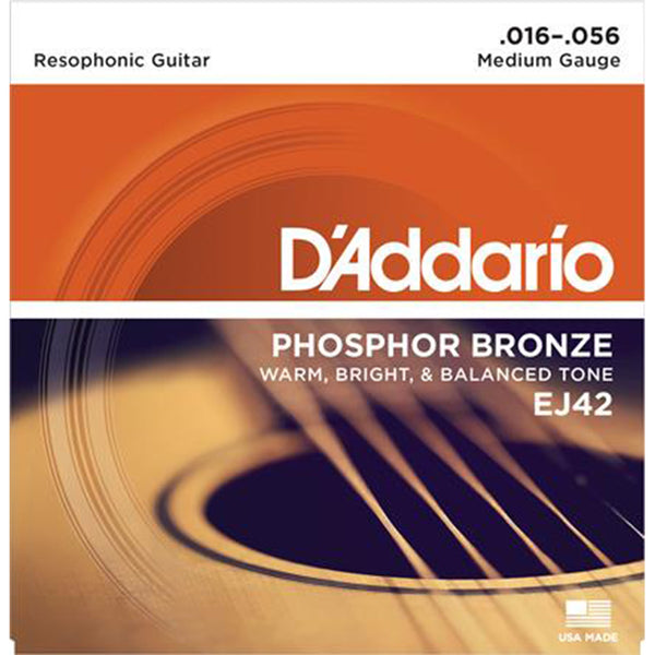D'Addario EJ42  Phosphor Bronze Resophonic Guitar Strings -16-56