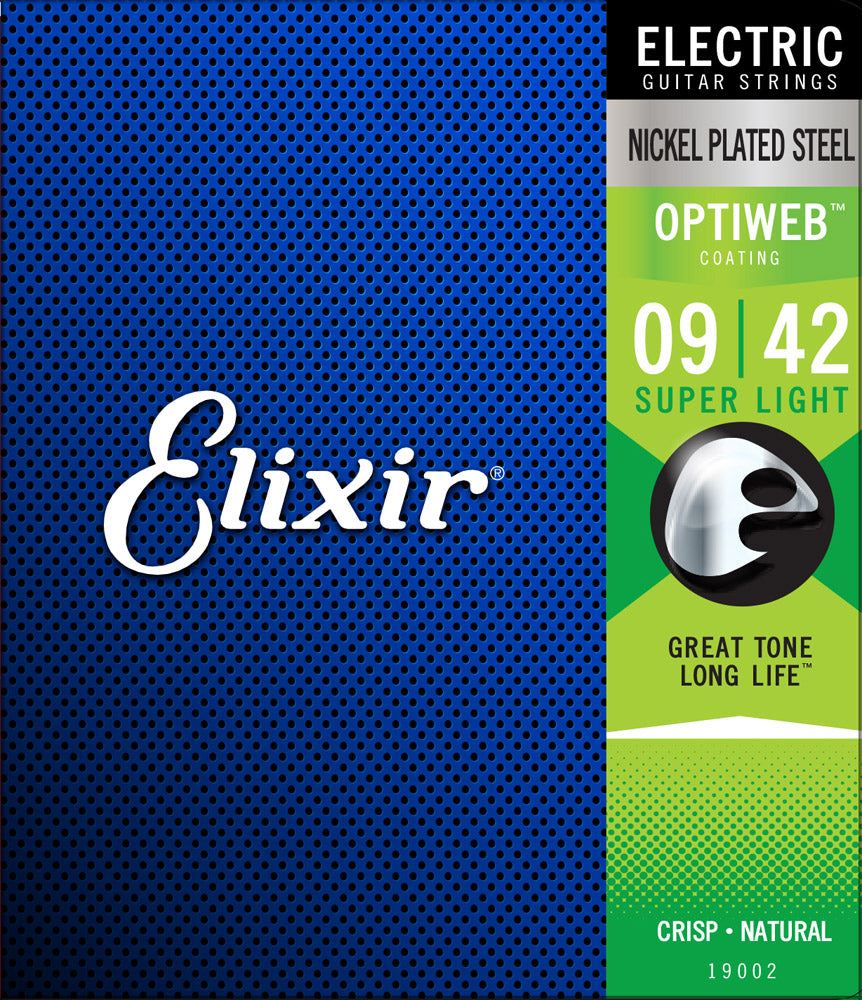 Elixir Strings - Electric Nickel Plated Steel with Optiweb Coating - Super Light 09-42