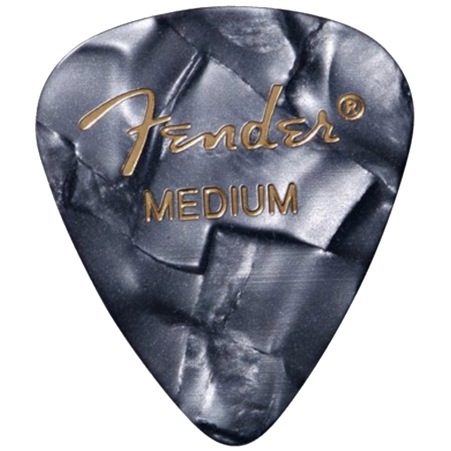 Fender Premium Celluloid Guitar Picks (12 Pack) - Medium, Black Moto