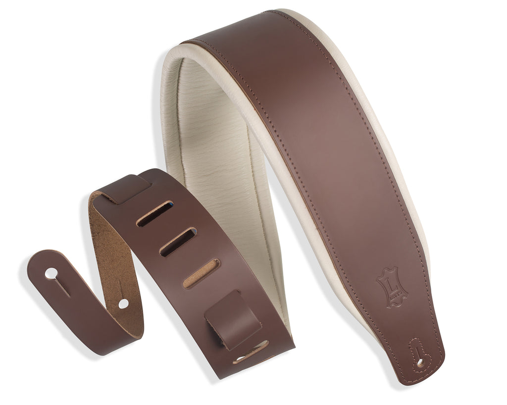 "Levy's Classic Series 3"" Padded Top Grain Leather Guitar Strap"