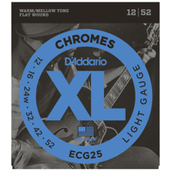 D'Addario ECG25 Chromes Flatwound Guitar Strings - 12-52