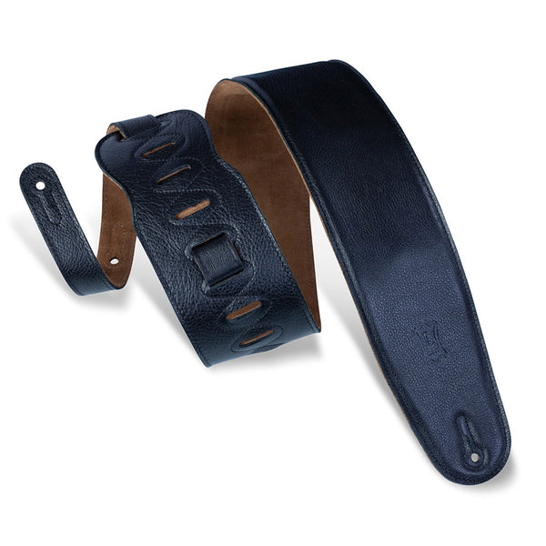 "Levy's 3 1/2""  Padded Garment Leather Bass Strap w/ Suede Backing - Black"