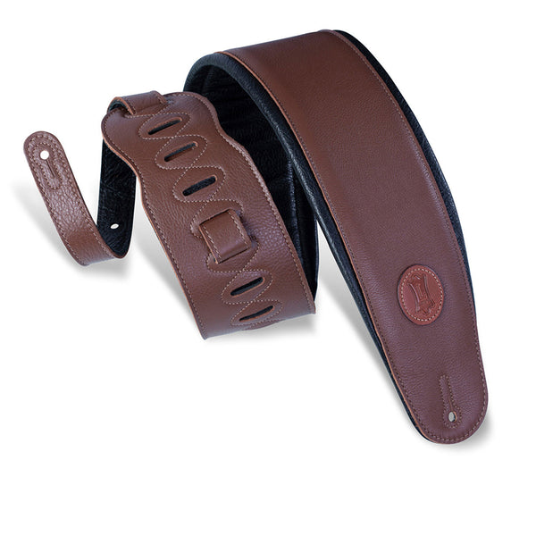 "Levy's 4 1/2"" Garment Leather Bass Strap w/ Foam Padding - Brown"