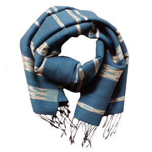 BLUE + BLUSH IKAT SILK BLEND STOLE