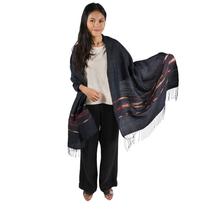 Black & Blush Lao Silk Wrap