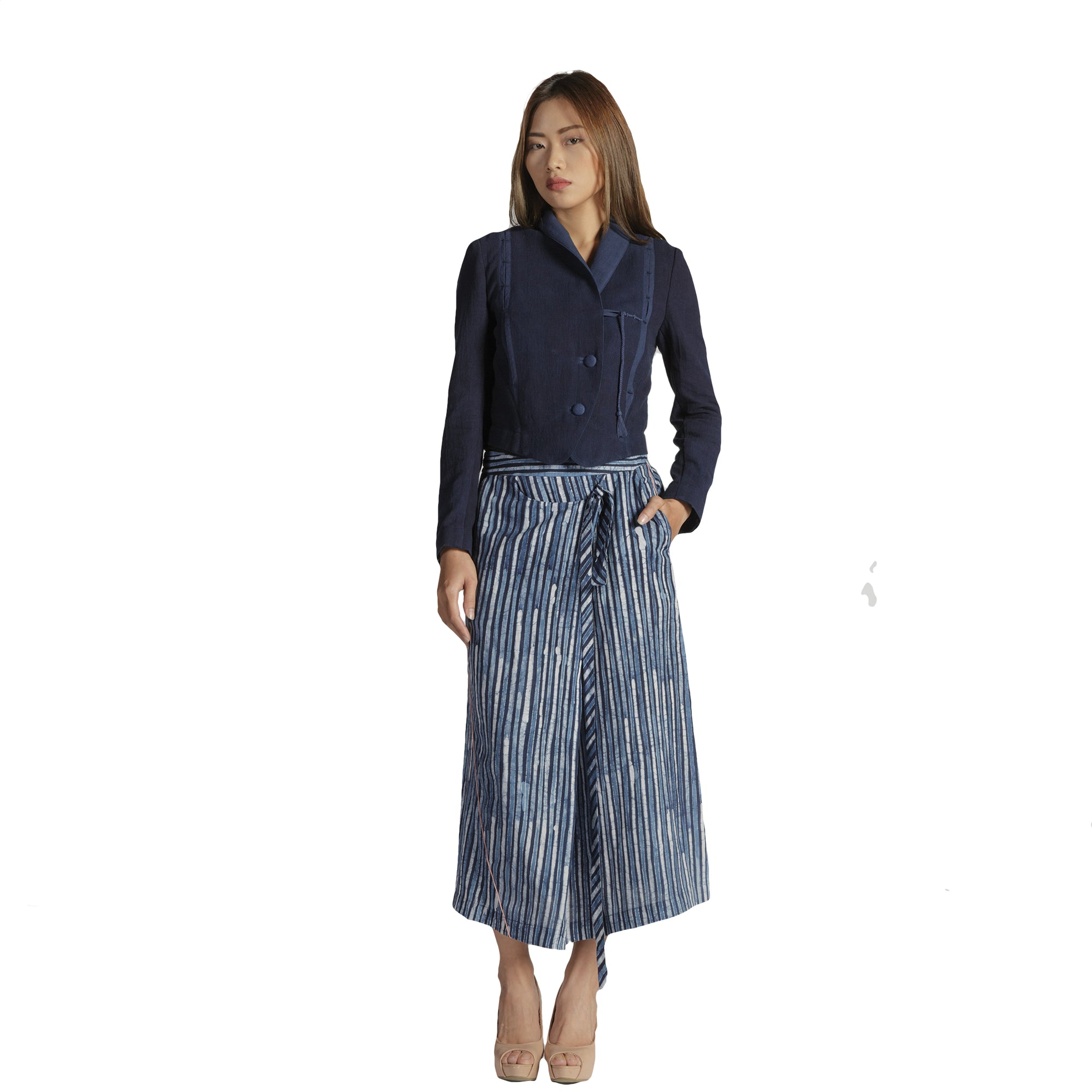 Batik Striped Midi Skirt